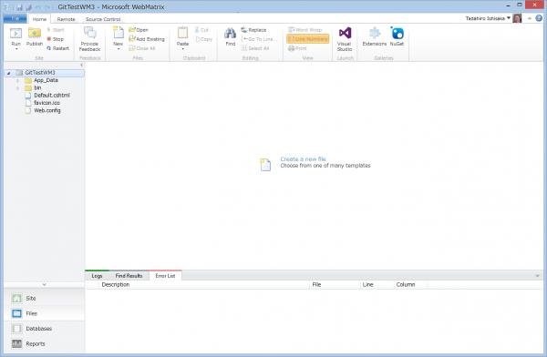 SnapCrab_GitTestWM3 - Microsoft WebMatrix_2013-3-22_19-49-8_No-00