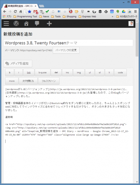 SnapCrab_新規投稿を追加 ‹ OPC Diary — WordPress - Google Chrome_2013-12-17_22-46-7_No-00