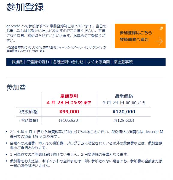 4月28日までの早期申し込みで税込み¥106,920、それ以降は¥129,600となっています。