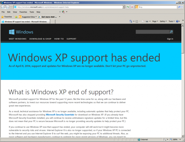 xp support endded